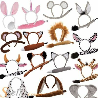 Kids Animal Ears And Tail Farm Wild Childrens Instant Fancy Dress Kit