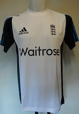 """England Cricket Ecb White Training Tee By Adidas 38/40"""" Chest Brand New  Tagged"""