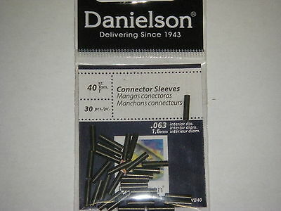 Danielson Connector Sleeves Fishing Wire Sleeve Black SZ 40 30 pk .063 dia