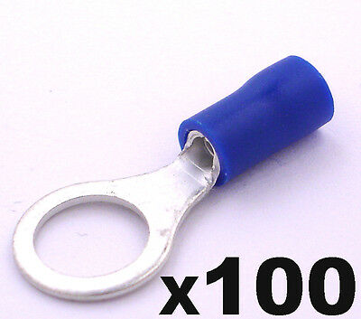 100x Blue Ring Insulated Crimp Connector Electrical Wiring Terminals 8mm Hole