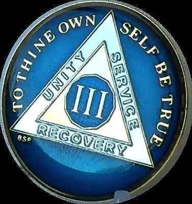 3 Year Midnight Blue AA Medallion Alcoholics Anonymous Chip Tri-Plate Gold Plate