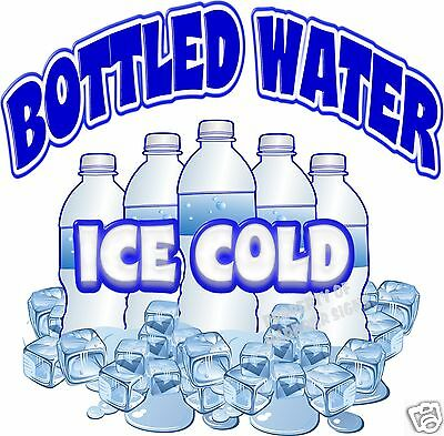 Ice Cold Bottled Water Drink Beverage Concession Beverage Food Truck Decal 24""