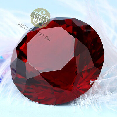 Red Crystal Paperweight Cut Glass Giant Diamond Jewel Decoration Crafts Gifts