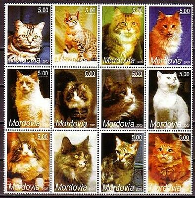 Cat Domestic Animals MNH 12 stamps CAT76