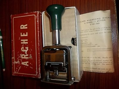 Vintage Archer 98L268 Auto Number Numbering Machine W/ Box & Instructions