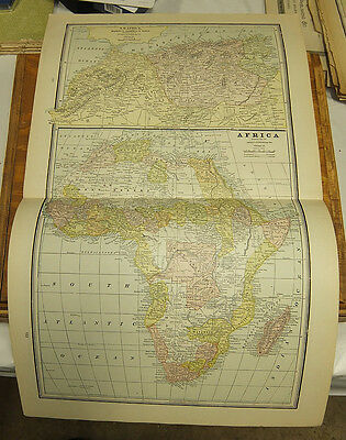 1890 4 Antique Maps on One Double Page/AFRICA, NW AFRICA, OCEANICA, SOUTH AFRICA