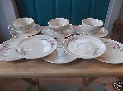 Eight Vintage Universal Ballerina Pottery China Saucers and Three Cups