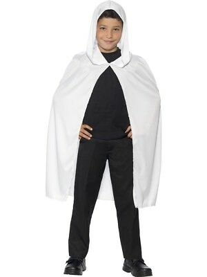 White Hooded Ghosts Cape Childrens Halloween Fancy Dress Ghost Accessory