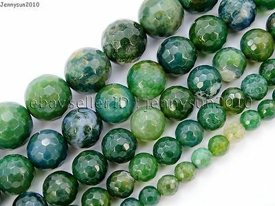 Natural Moss Agate Gemstone Faceted Round Beads 15'' 4mm 6mm 8mm 10mm 12mm 14mm