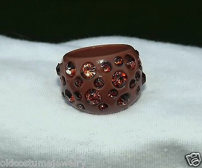 BIG CHUNKY PLASTIC RING~CHOCOLATE BROWN with BROWN RHINESTONES~OLD STORE STOCK