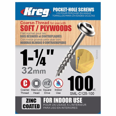"Kreg SML-C125-100 1 1/4"" #8 Coarse Pocket Hole Screws 100 per Box"