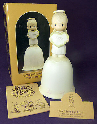 Precious Moments GOD SENT HIS LOVE Angel Heart Porcelain BELL 15873 1985 Box Tag