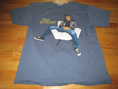 "2007 ROD STEWART ""ROCKIN' IN THE ROUND"" Concert Tour (LG) T-Shirt BLUE"
