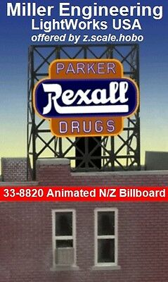 Miller LightWorks 33-8820 Rexall Drug Store Billboard Sign N Z Scale *NEW $0Ship