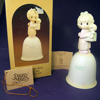 LOVE is the BEST GIFT of ALL Precious Moments CHRISTMAS BELL 1987 Box & Tags