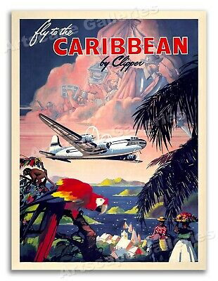 1940s Fly to the Caribbean Vintage Style Tropical Travel Poster - 18x24
