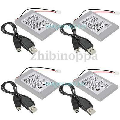 New 4Pcs 4xUSB Battery Pack Replacement for Sony PS3 Wireless Controller Cable