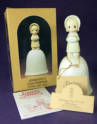 Precious Moments WISHING YOU A COZY CHRISTMAS Porcelain BELL 102318 1985 Box Tag