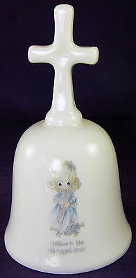 I BELIEVE IN THE OLD RUGGED CROSS Precious Moments Bell 1985 Porcelain Japan