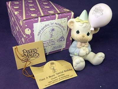 HAVE A BEARY SPECIAL Precious Moments BIRTHDAY B0104 Box BEAR with BALLOON 1989