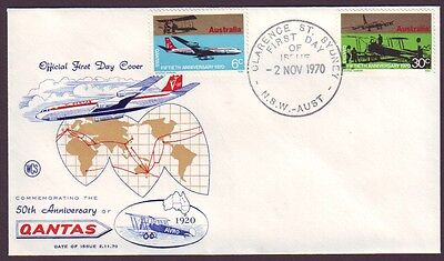 1970 Qantas 50Th Anniversary On Wesley First Day Cover - Unaddressed (Ps5724)