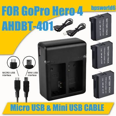 3 x AHDBT-401 Battery + USB Charger For GoPro Hero 4 Camera Go Pro Hero4 New AU