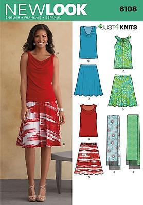 New Look Sewing Pattern Misses' Just 4 Knits Top Skirt Scarf Size 4 - 16 6108