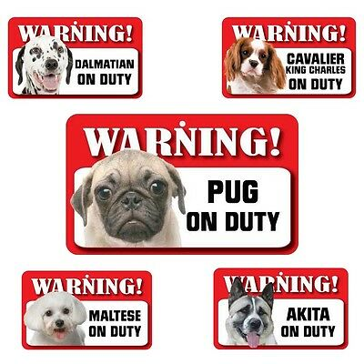 Pet Dog Warning Signs - Over 50 Types - Laminated Card - 20cm x 12cm