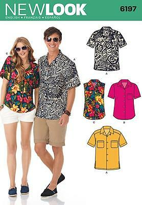 New Look Sewing Pattern Misses' & Mens Shirts Sixe 8 - 18 & 36 - 46 Inch 6197
