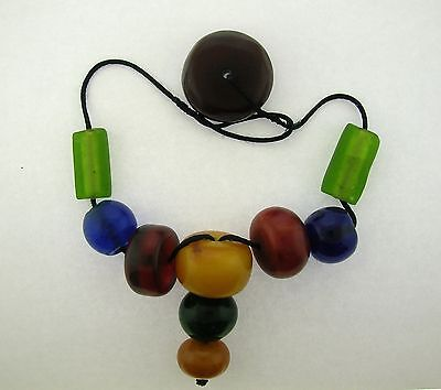 Antique/Vintage Multi Color Bakelite Necklace With Glass Spacers - Rare - V.nice