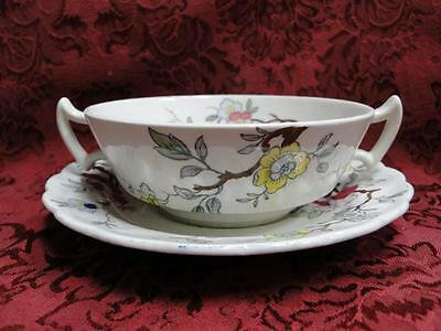 Booths Chinese Tree Yellow, Red,Blue,Pink: Cream Soup and Saucer Set (s) Crazing