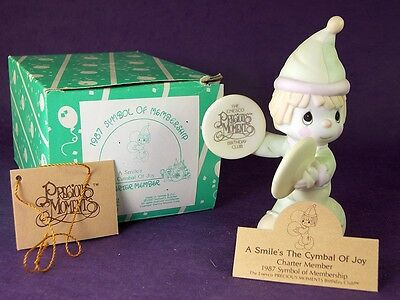 A SMILE'S THE CYMBAL OF JOY Precious Moments Birthday Figurine CLOWN 1995 B0102