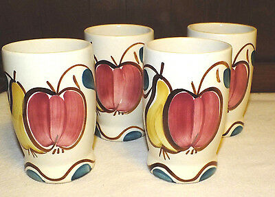 Purinton Pottery Slipware Apple Pear Tumblers Set Of 4  All  Exc