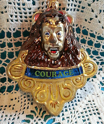 Polonaise Glass Ornament Cowardly Lion with Badge of Courage
