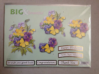 Die Cut Big & Beautiful Decoupage  5 Foiled Sentiments + Backing Paper( 555)