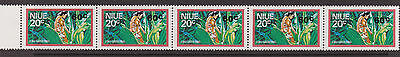 NIUE - 1977 60c ON 20c STRIP OF 5 WITH SURCHARGE ERRORS MNH SG.229 (REF.A7)