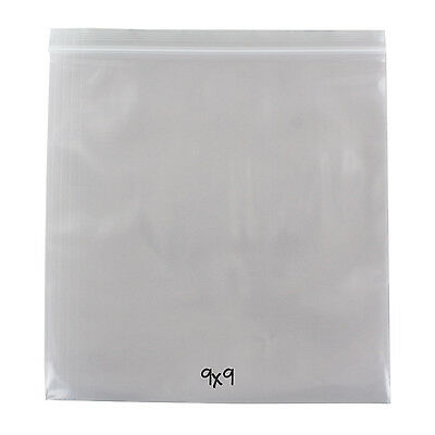 Reclosable Reusable Ziplock Poly Bag, Clear, 4 Mil, 9 x 9, 500 Bags