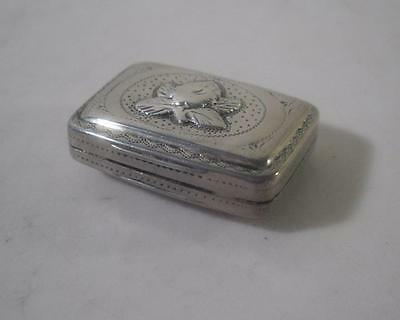 An Antique George III Silver Vinaigrette With Applied Flower : Birmingham 1818