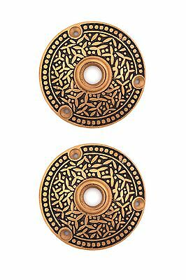 3 in bronze Rice pattern doorknob rosette for pre-bored doors PAIR