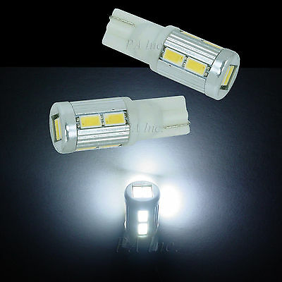 2x 10-5630 SMD LED Parking Light Bulbs 168 2825 Matching HID Xenon White T10