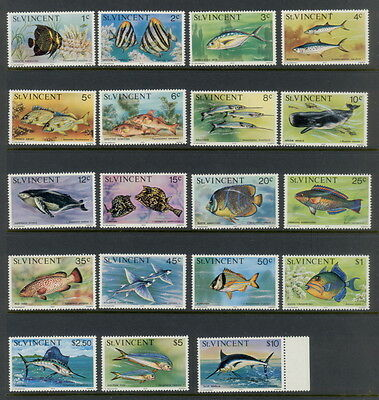 St. Vincent 407 to 425 complete set - mnh fish and sea life stamps