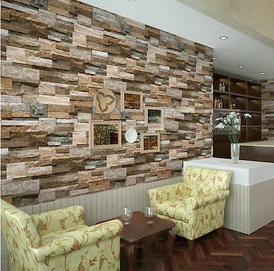 """Realistic Real Stacked Brick Stone Vinyl Background Wallpaper 20.8"""" x 393.7"""""""