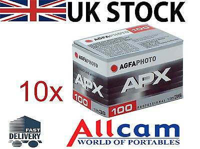 10 Pack: Agfa APX 100 35mm 36 Exposures Professional B&W Negative Film, New