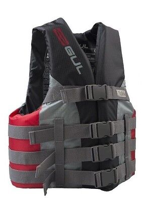 Gul Buoyancy Floatation Aid Jacket Impact Vest 4 Buckle Grey Red Jetski Canoe