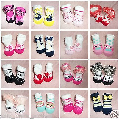 New Baby Girls 0-3 Months Socks Animal Frilly Bow Spotty Leopard Flower