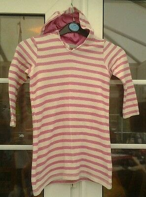 Next Girls Cream & Pink Striped Long Sleeved Hooded Top - Aged 3 Yrs