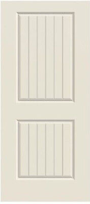Corvado 2 Panel Square V-Groove Primed Molded Solid Core Wood Composite Doors