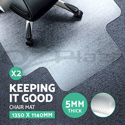 2 x Carpet Floor Office Computer Work Chair Mat Vinyl Protector 1350 x 1140mm