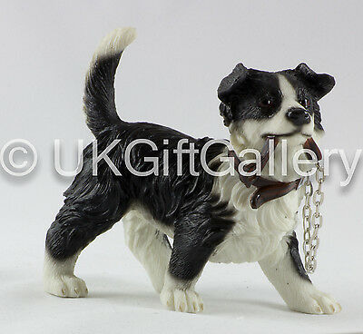 Border Collie Dog Pup Figurine in Standing Pose With Lead in Mouth by Leonardo