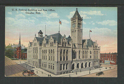 1910s US FEDERAL BUILDING AND POST OFFICE OMAHA NEB POSTCARD